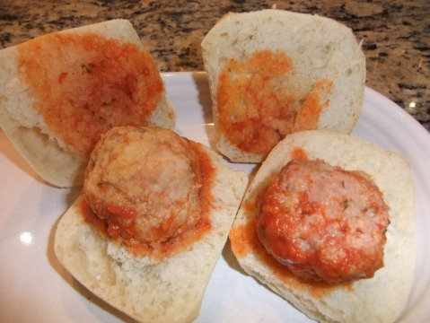 Two of the Meatball Sliders: Chicken with Sage on the left and Spicy Pork to the right