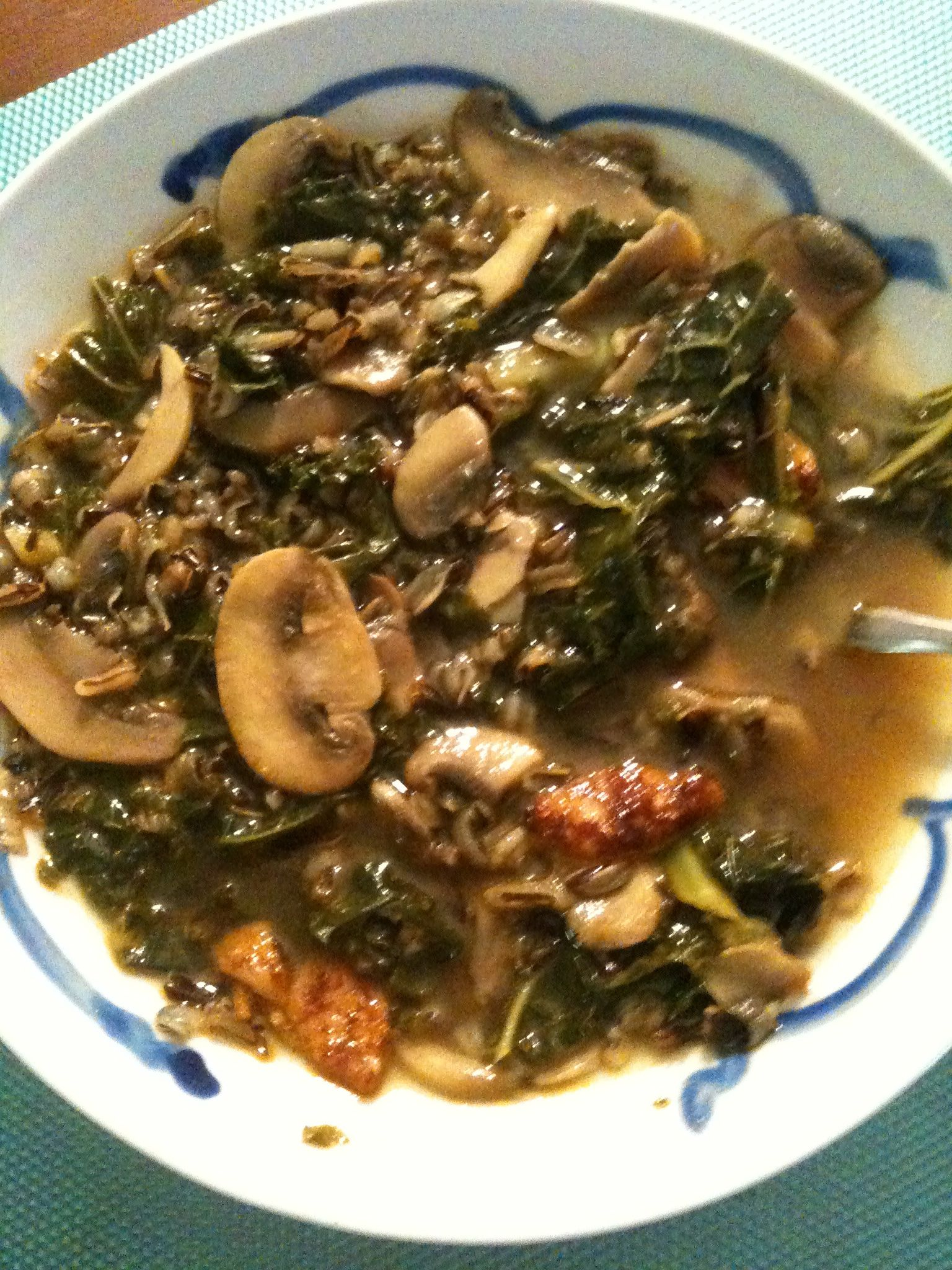 Brown Rice And Greens Soup With Turkey Sausage Recipe — Dishmaps
