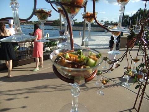 """Hanging"" Salads at the Food Blog Forum opening reception at the Grand Floridian Walt Disney World"