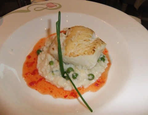 Also from the Enchanted Garden dinner menu: Pan-seared Sea Bass with saffron and fennel risotto with a sweet chili glaze
