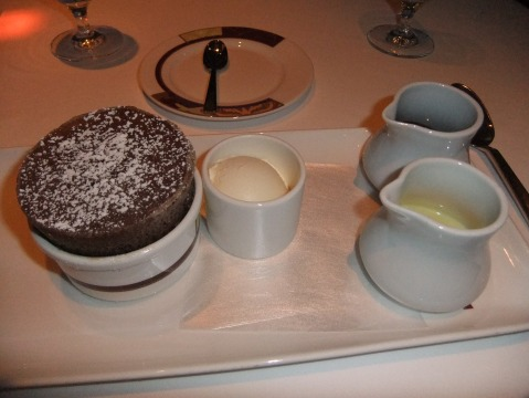 The Iconic Palo dessert: Chocolate Souffle with Vanilla Bean and Chocolate Sauces