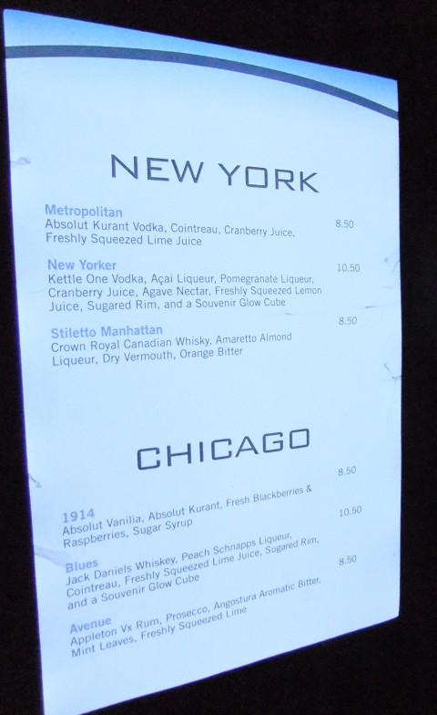 Illuminated drink menu at the Skyline Lounge