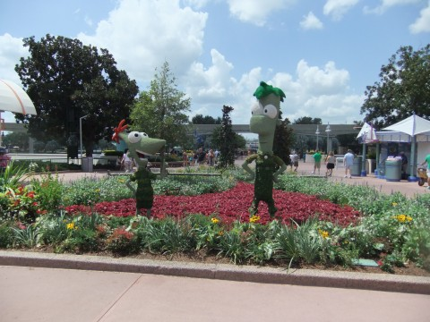 A Phineas and Ferb Topiary on the walkway between Future World and the World Showcase in Epcot