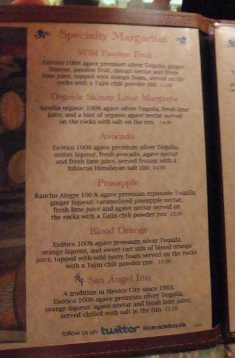 La Cava del Tequila Specialty Margarita Menu