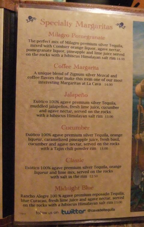 Specialty Margarita Menu La Cava del Tequila