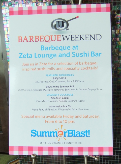 Zeta Lounge and Sushi Bar specialty items for Barbeque Weekends