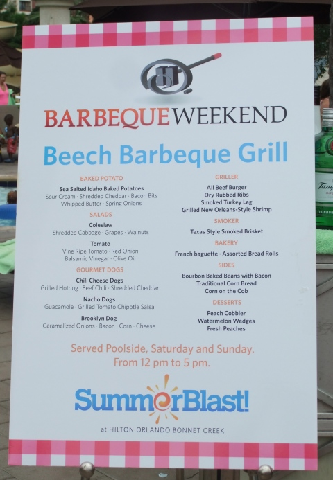 Poolside Barbeque Grill Menu