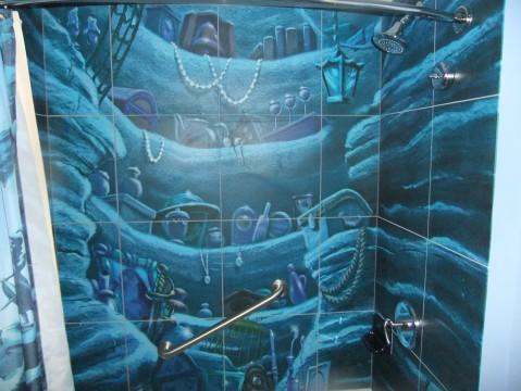Inside of the shower in Little Mermaid room