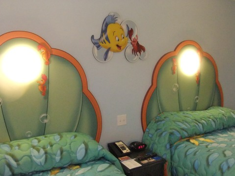 Beds and headboards in Little Mermaid room