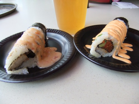 Karaage Hand Roll and Spicy Hand Roll from Japan Booth