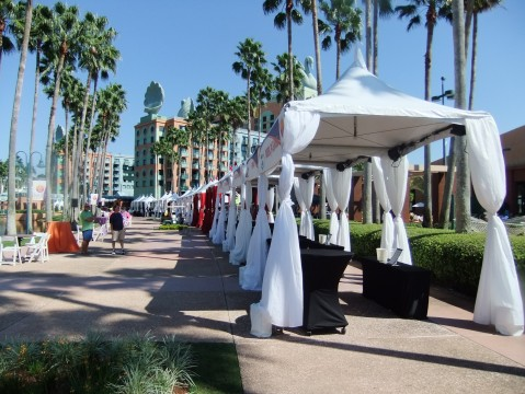 Just a few of the booths being set up for the Food & Wine Classic