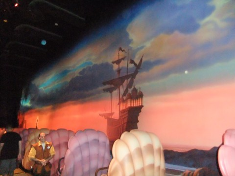 Part of the mural in the load area of the new Little Mermaid ride