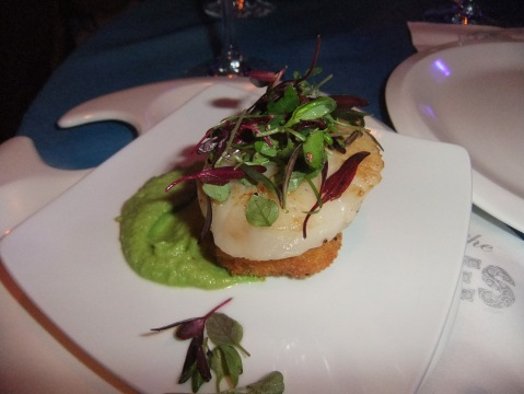 Diver Scallop with Pea Puree and Micro Greens