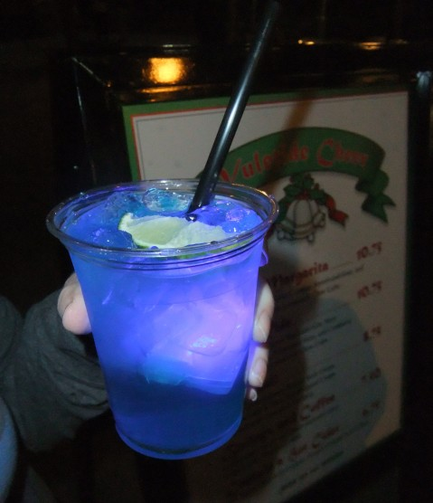 The Merry Margarita - nothing says the Holidays like Blue Curacao and a Glow Cube!