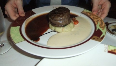Beef Tenderloin with twp sauces at Palo