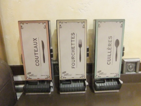 Plastic utensil dispensers in Boulangerie Patisserie