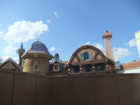 "New ""Tangled"" themed restroom currently behind construction walls in Fantasyland"