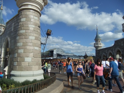 Entrance area to New Fantasyland expansion with construction on the Seven Dwarfs Mine Train ride