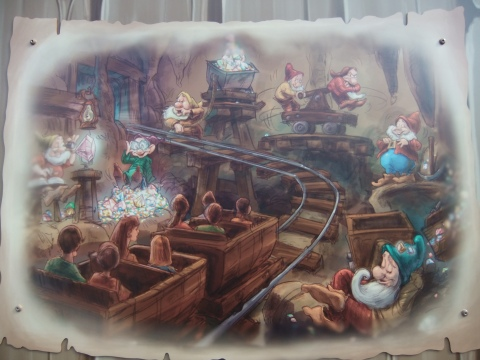 Seven Dwarfs Mine Train Concept Art on the Construction Wall