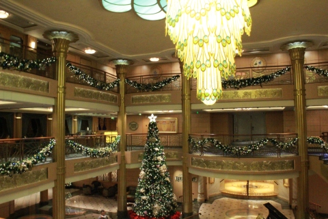 Atrium of the Disney Fantasy decorated for the holidays