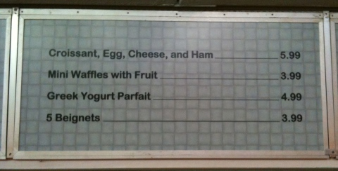 Tomorrowland Terrace temporary breakfast menu. Begnets? Fry me some up please!