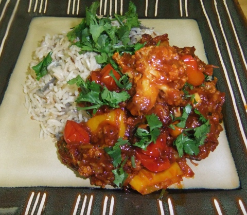 Manchurian Cauliflower with Coconut Rice