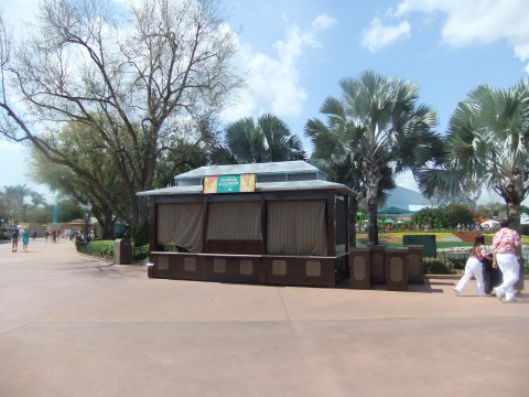 The Craft Beer stand from Food & Wine awaits it's re-purposing for the Epcot Flower & Garden Festival...