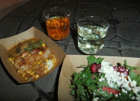 Shrimp and Stone Ground Grits with Andouille Sauage, Zellwood Corn, Tomatoes and Cilantro (left, paired with the Tomato Wine) and Watermelon Salad with pickled Red Onions, BW Baby Arugula, Feta Cheese and Balsamic Reduction (along with the Carrot Wine)