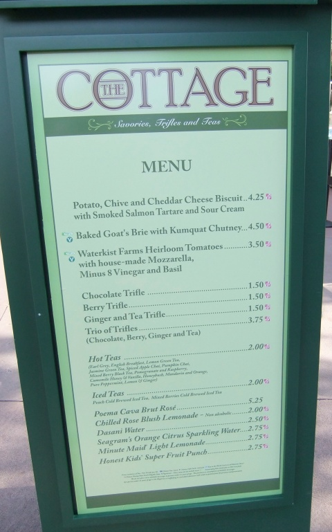 The Cottage Menu