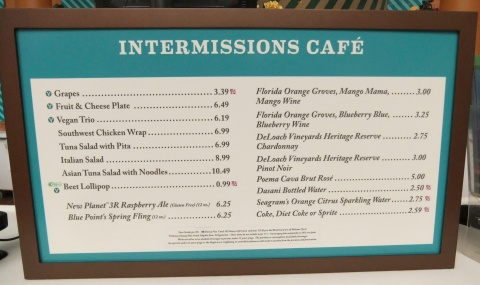 Intermissions Cafe Menu