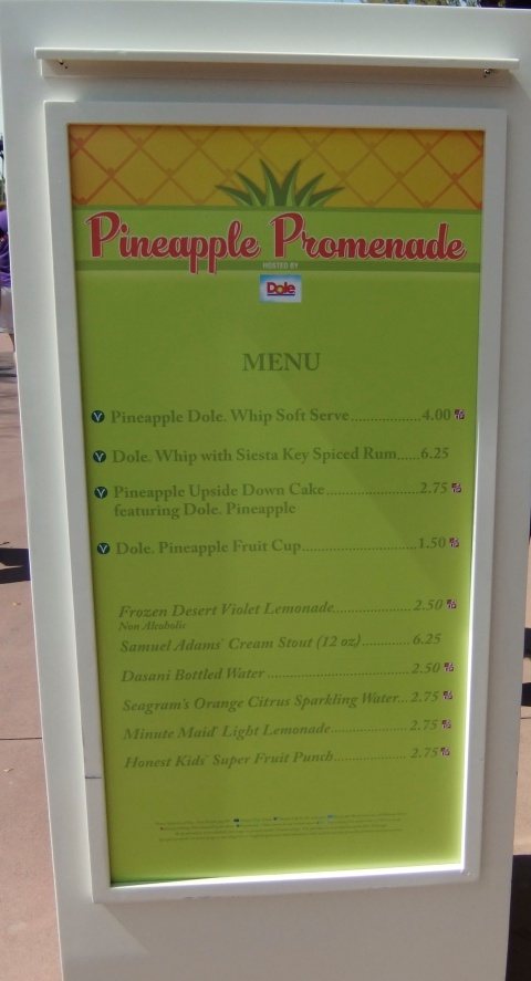 Pineapple Promenade Menu