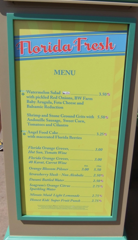 Florida Fresh Menu