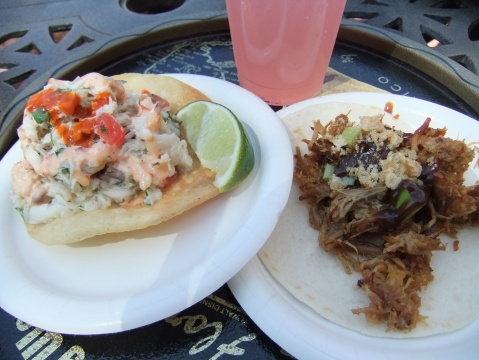 Tostada de Jaiba (left) and Tacos de Carnitas