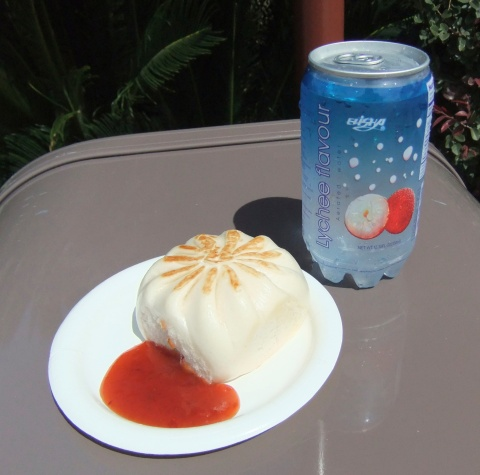 Pan-Fried Vegetable Bun and Lychee Aerated Water from the Lotus House