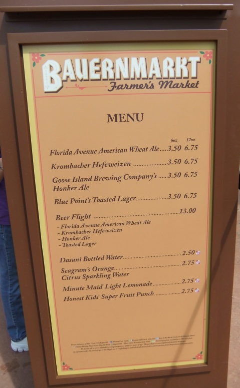 Bauernmarkt Beer Menu