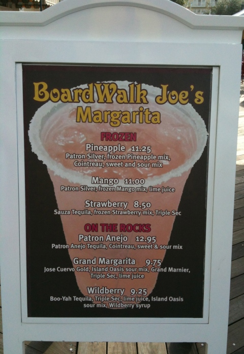 Boardwalk Joe's Margarita Menu