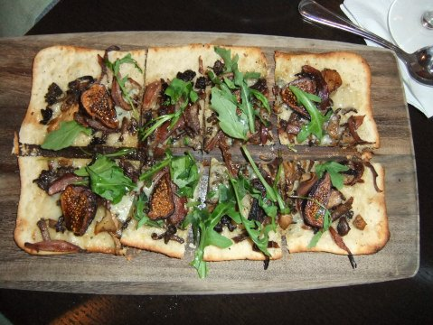 Wild Mushroom Flatbread with caramelized Balsamic onions, Smokey Bleu cheese, figs, and arugula