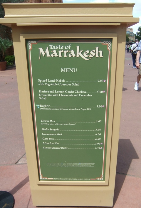 Taste of Marrakesh Menu