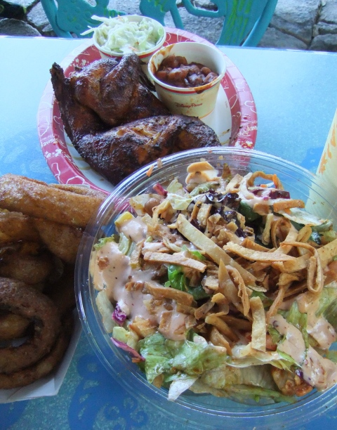 Smoked Chicken with beans and slaw, Onion Rings and Smoked Chicken Salad from Flame Tree Barbeque in Animal Kingdom