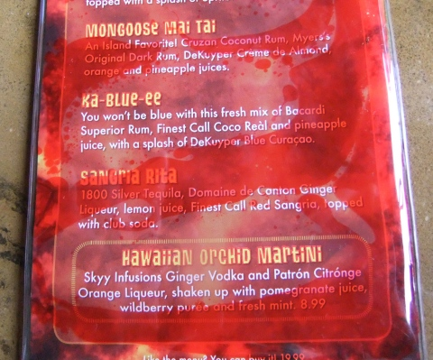 Lava Lounge Bar Menu