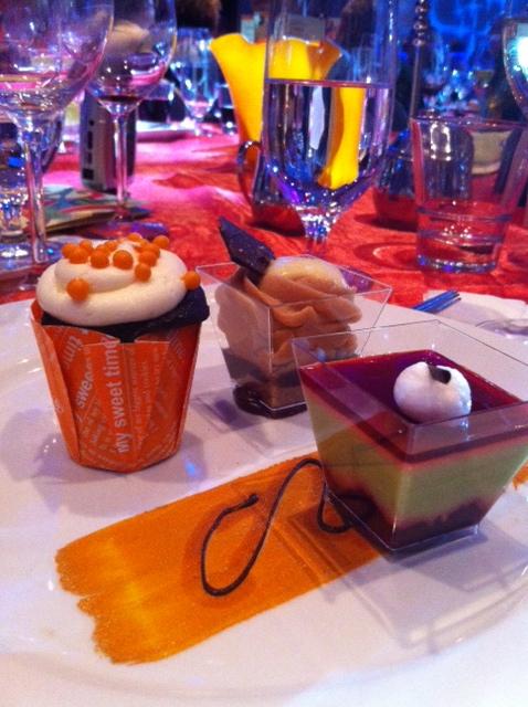 Dessert Trio: Chocolate Orange Cupcake, Hazelnut Chocolate Cheesecake and Morello Cherry Pistachio Mousse (photo courtesy Miss Bonnie's iPhone)