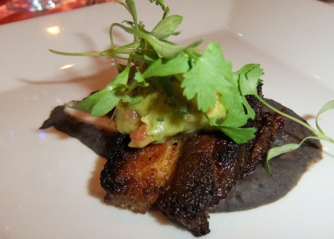 Crispy Pork Belly with Black Beans, Onions, Avocado and Cilantro