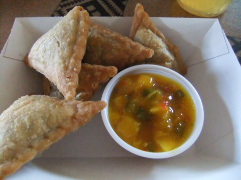 Samosas with Mango Chutney