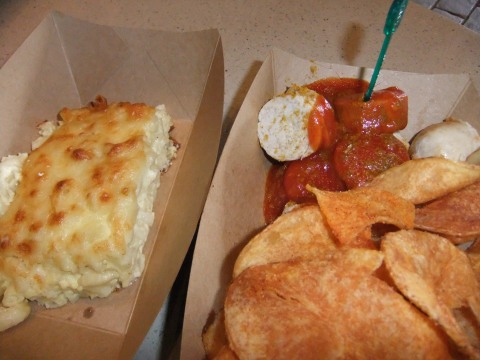 Nudel Kugel (left) and Currywurst
