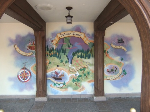New map of Never Land painted on the wall in queue area of the Peter Pan ride