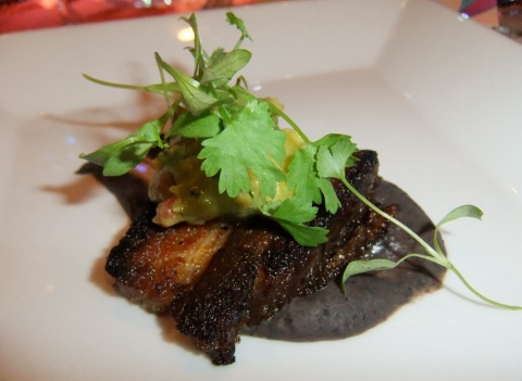 Crispy Pork Belly with Black Beans, Onions,  Avocado & Cilantro