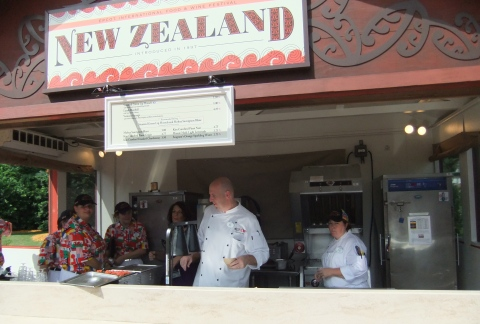 Chef Jens going last-minute instructions to the cast in the New Zealand kiosk