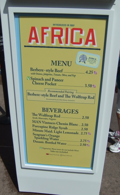 Menu at the Africa Kiosk