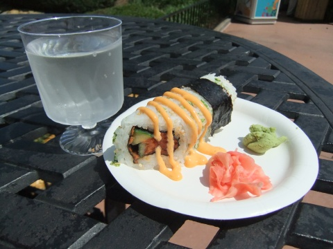 "Spicy Tuna Hand Roll and ""Snow"" Sake"