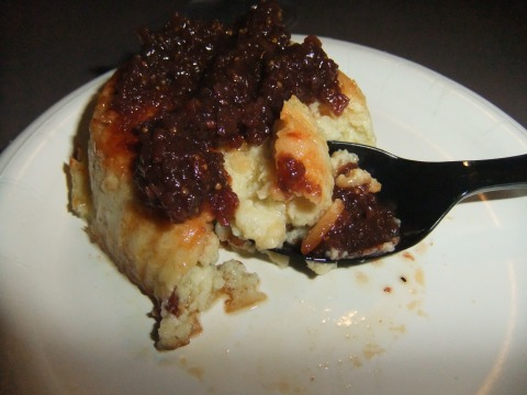 Almond Crusted Blue Cheese Souffle with Fig Jam